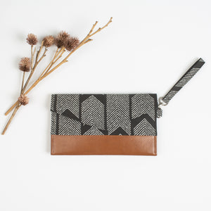 Black Patterned Wristlet Clutch