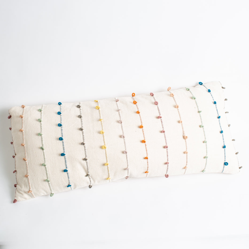 Colorful Embroidered Loop Pillow