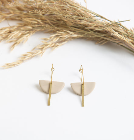 Deco Clay and Gold Earring
