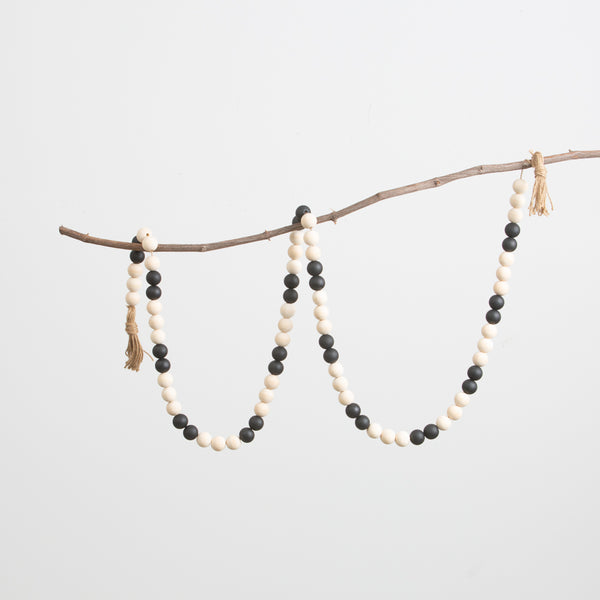 Black and Natural Bead Garland