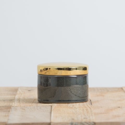 Teal Container with Gold Lid