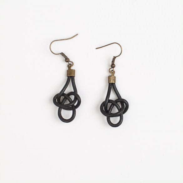 Twisted Black Leather Earrings