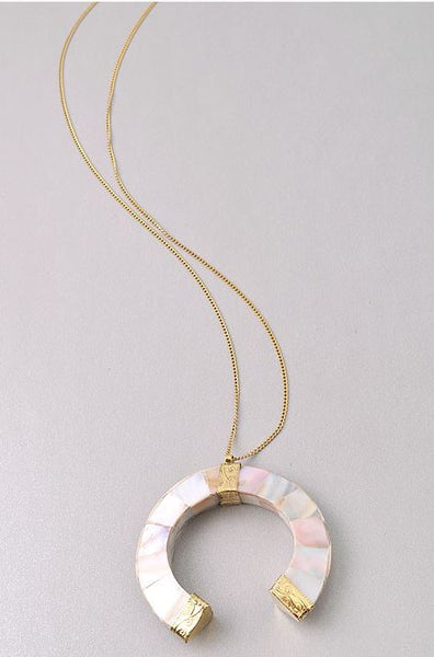 Marbled Crescent Necklace