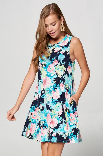 Like New Money Floral Dress-Navy