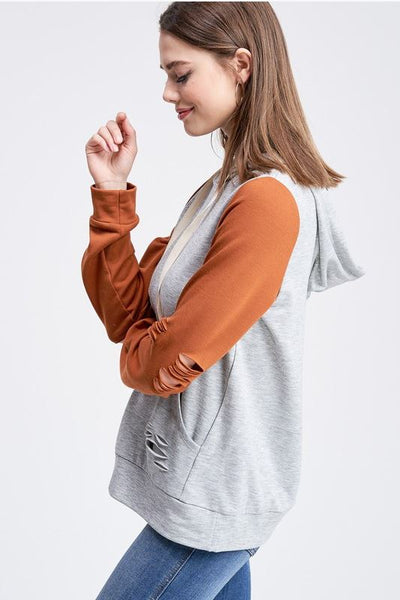 Distressed To The Max Hoodie- Rust