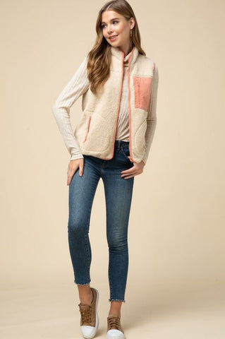 Prim and Proper Vest- Cream and Peach