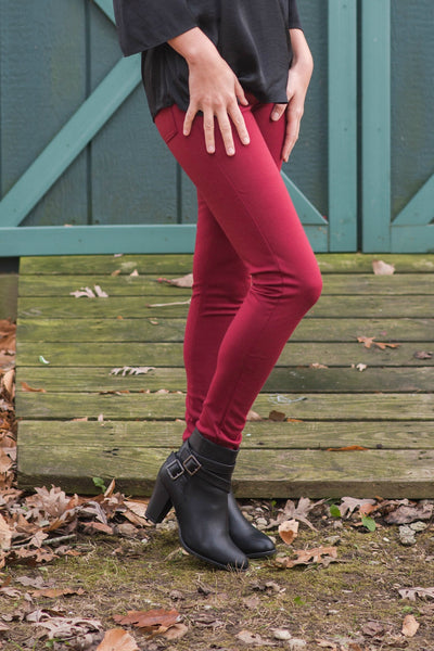 Life Of The Party Burgundy Pants