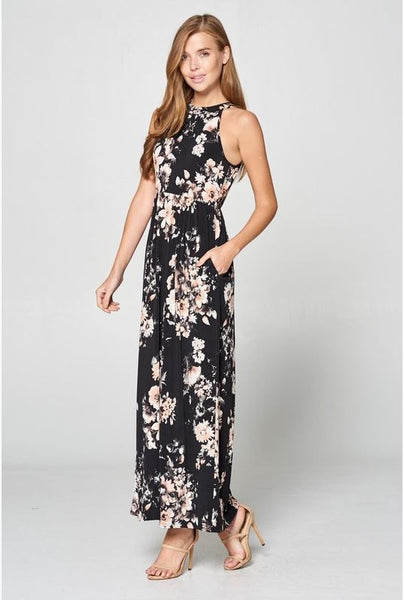 Don't You Just Wish Floral Maxi Dress- Black