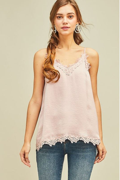 Ribbons and Pearls Tank Top- Blush
