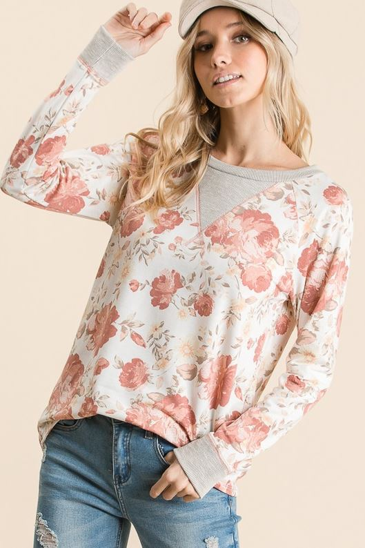 This Is The Life Floral Top- Ivory & Rose