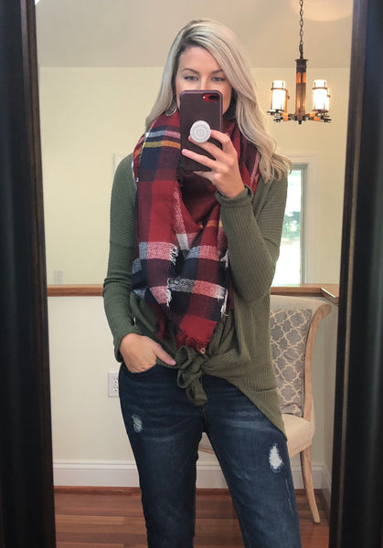 Wrapped Around You Blanket Scarf- Red/Navy/White