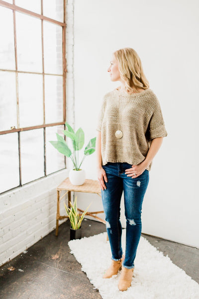 *Cable Knit Short Sleeve Top- Taupe