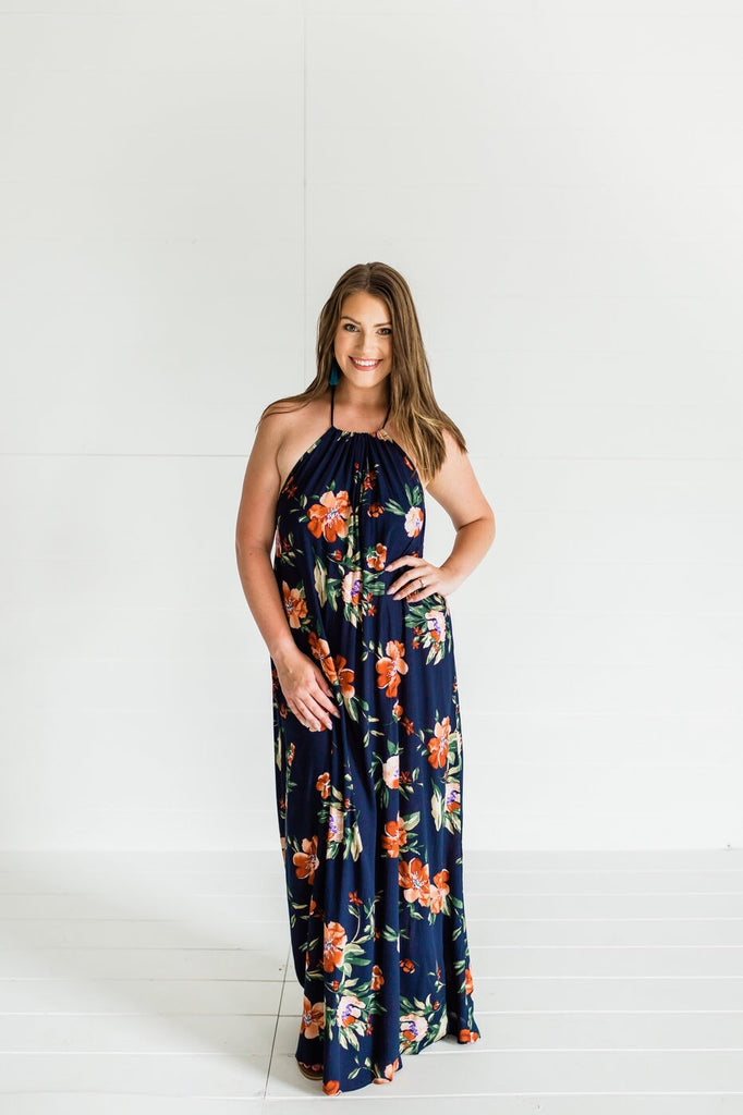 To Be Elegant Floral Maxi- Navy