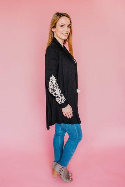 Too Fancy For You Cardigan- Black