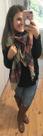 Wrapped Around You Blanket Scarf- Khaki