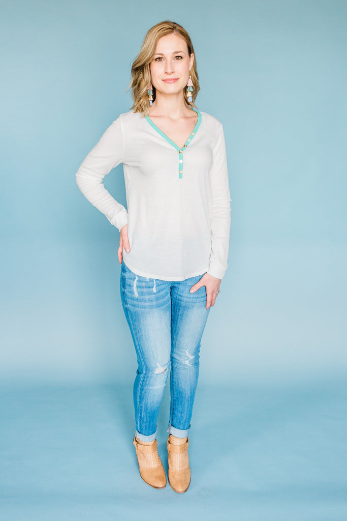Just A Simple Girl Top- Ivory/Mint