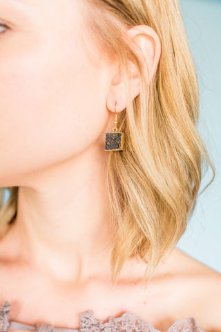 It's Crystal Clear Earrings- Black