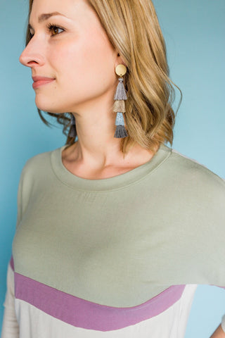 Totally Rad Tassel Earrings- Grey