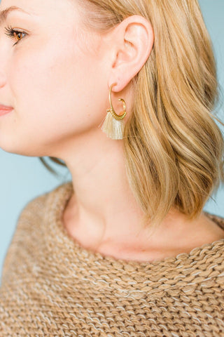 Merry Go Round Tassel Earrings- Ivory
