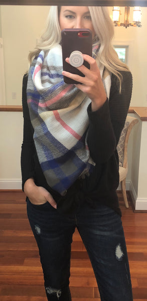 Wrapped Around You Blanket Scarf- White/Blue/Pink