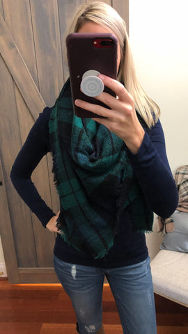 Wrapped Around You Blanket Scarf- Green