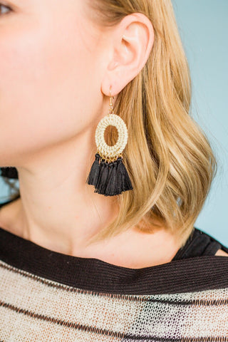 Circular Tassel Earrings- Black