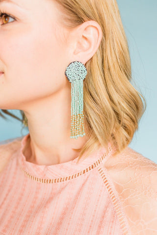 Beaded Tassel Earrings- Mint