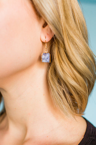 It's Crystal Clear Earrings- Lavender