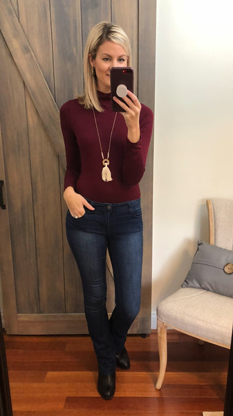 *Back Again Turtleneck Top- Burgundy