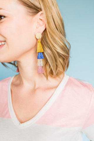 Totally Rad Tassel Earrings- Mustard