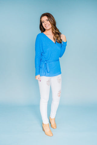 Wrap/Tie Front Top - Cobalt Blue