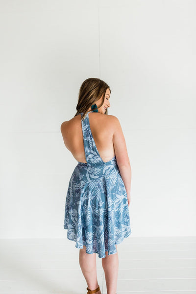 One Of a Kind Tropical Print Dress- Blue