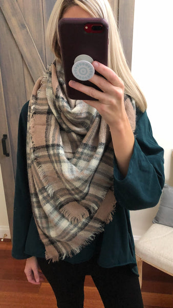 Wrapped Around You Blanket Scarf- Beige