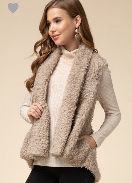 Are You Fur Real Vest - Taupe