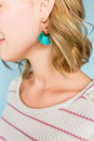 Merry Go Round Tassel Earrings- Turquoise