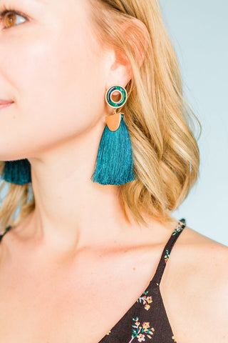 Feeling Flirtatious Earrings- Teal