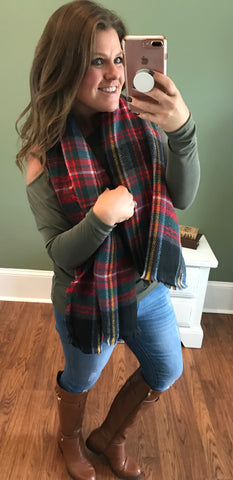 Wrapped Around You Blanket Scarf- Black/Green/Red