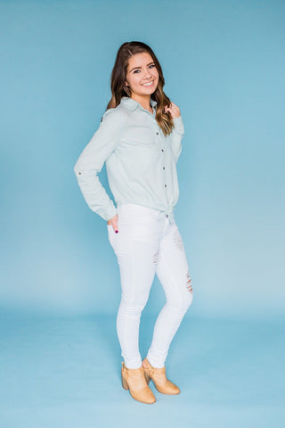 Downhome Girl Top- Light Blue