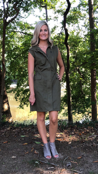 *This Ain't No Walk In The Park Dress- Hunter Green