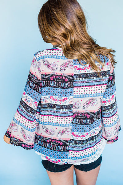 Free As the Wind Cardigan- Blue