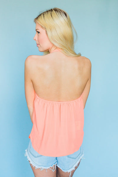 Awaiting Summer Nights Tank Top- Neon Coral