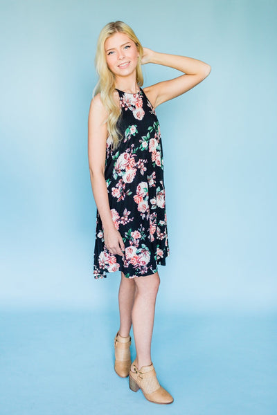 Dance With Me Floral Dress- Black
