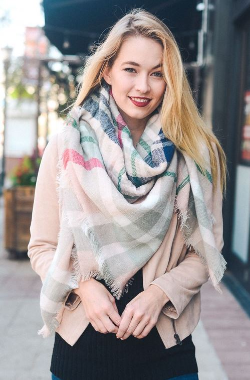 Wrapped Around You Blanket Scarf- Light Pink