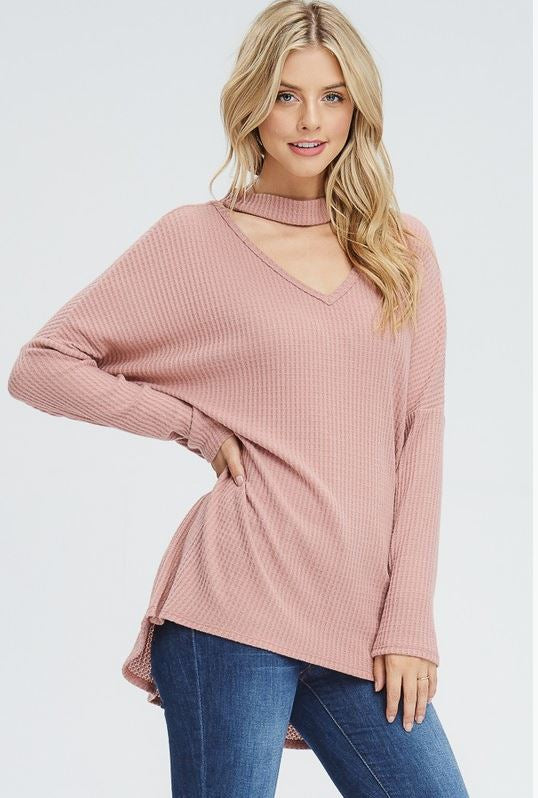 All Day Every Day Choker Top- Mauve