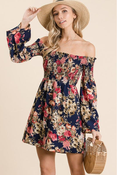 Always and Forever Floral Dress- Navy