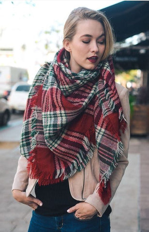 Wrapped Around You Blanket Scarf- Red/Green