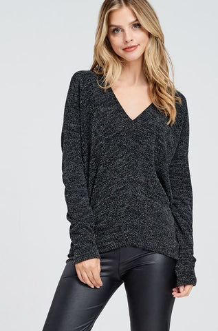 All The Twinkling Lights Top- Black
