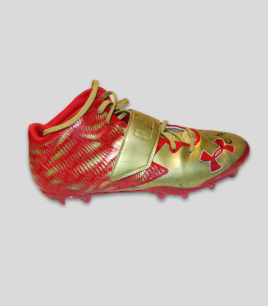 2016 Autographed Red & Gold Game Worn Cleats vs Los Angeles Rams