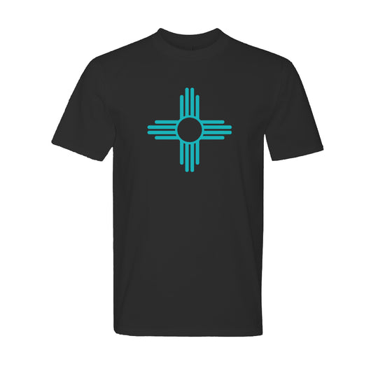 """ZIA"" Symbol Short Sleeve Adult Tee - Black with Turquoise"