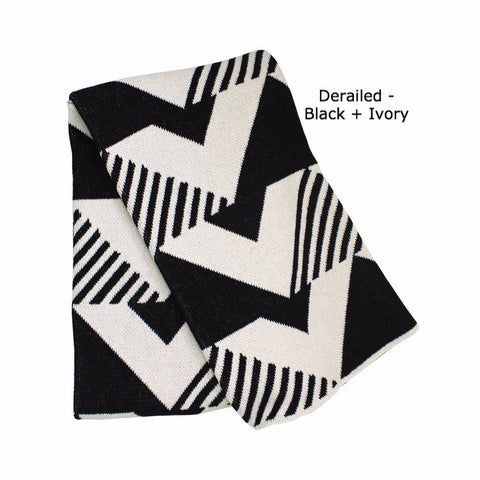 Throw Blanket or Wrap - Derailed - Black & Ivory